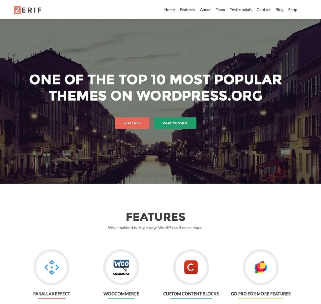 zerif - free one page wordpress themes collection