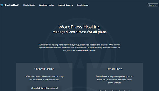 Dreamhost wordpress hébergement