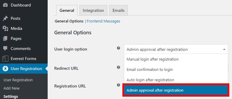 aprovação de administrador de spam de registro wordpress