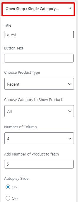 single category widget open shop pro