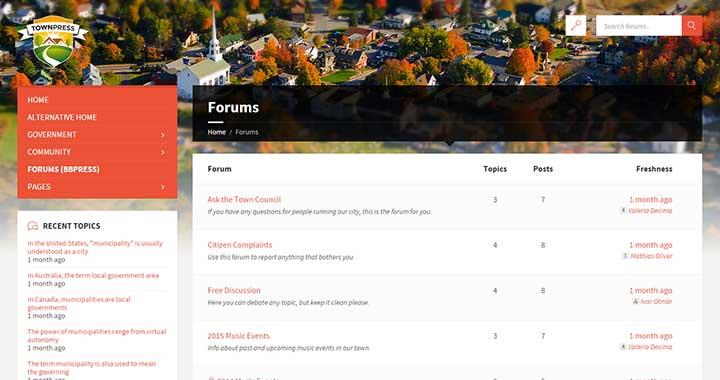 TownPress Forum WordPress Themes