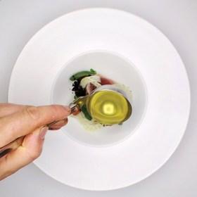Julien Burlat -- Dome -- Tuna-Caramelised Water Melon-fennel-olives-pumpkin pit oil - SMALL