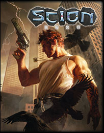 The Cover for Scion Hero. This is one of the Pre-gens, Eric Donner, Son of Thor, with Giantbane a revolver with a chip off Mjolnir as hammer.
