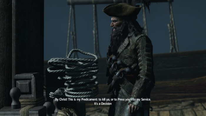 Blackbeard is such a badass, even the character models stop working in his presence