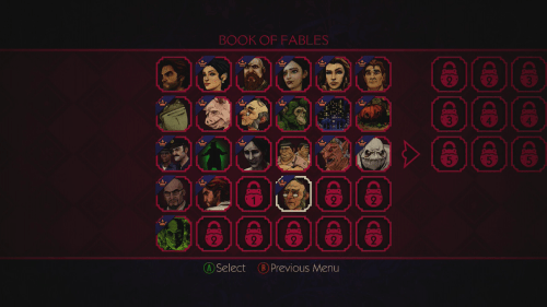 As you progress more of the Book of Fables unlocks, giving you Bios on different characters and your choices