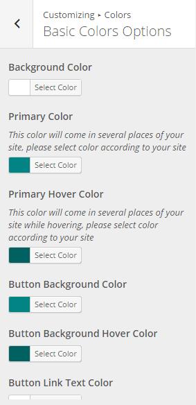 Basic Color Options
