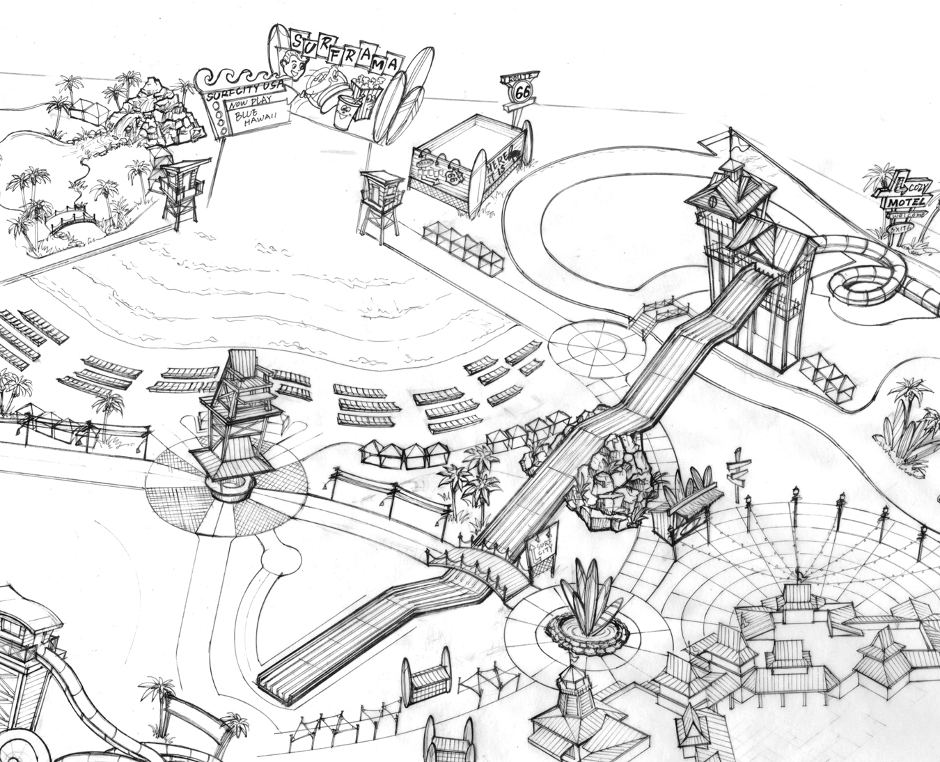 Amusement Park Map Coloring Pages
