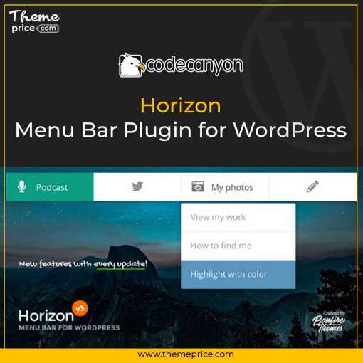 Horizon – Menu Bar Plugin for WordPress