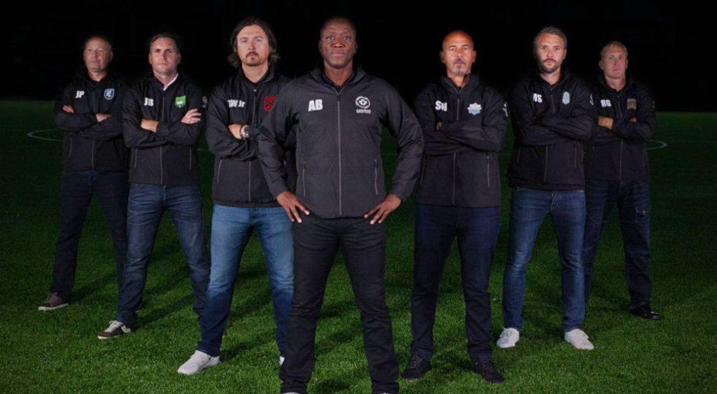 The seven Canadian Premier League managers, plus Alex Bunbury.