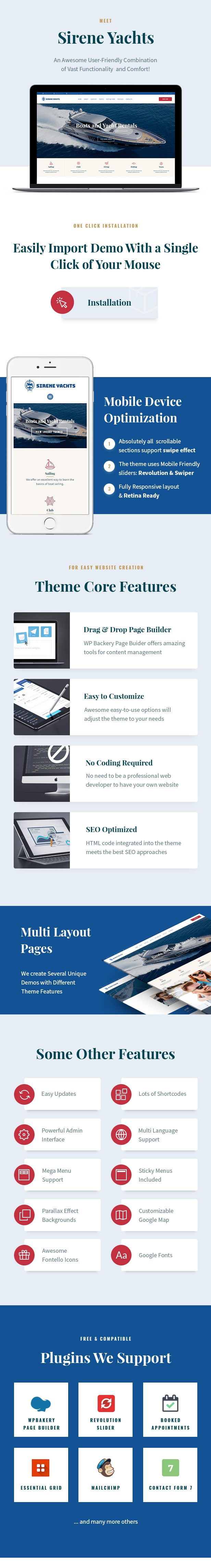 Yacht Charter Services & Boat Rental WordPress Theme features