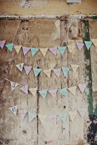 Bunting seating plan. Joanna Brown Photography
