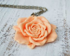 Peach rose necklace, by redtruckdesigns on etsy.com