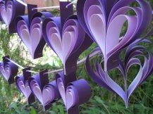 Purple heart garland, by TreeTownPaper on etsy.com