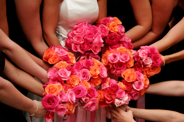 Pink and orange bouquets