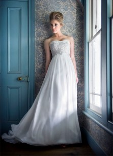 Wedding dress with silver embellishments, by Anna Schimmel