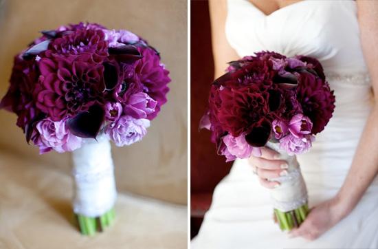 Eggplant-purple And Light Grey Wedding Inspiration