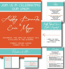 Invitation set, by DBLPapery on etsy.com