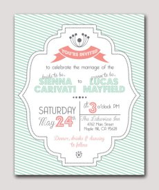 Mint wedding invitation, by theberkleybungalow on etsy.com