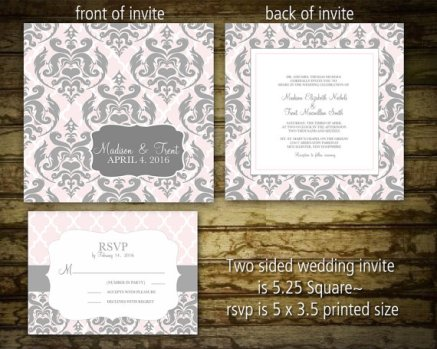 Pink and grey damask invitation, by NotedOccasions on etsy.com