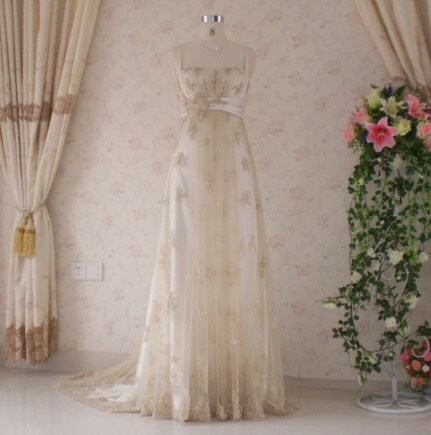 Wedding dress with gold lace, by WeddingDressFantasy on etsy.com