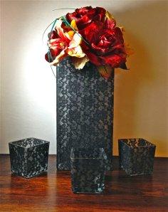 Black lace vases, by UproarDecor on etsy.com