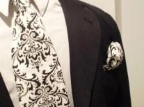 Damask tie and pocket square, by FantasyVintageBridal on etsy.com