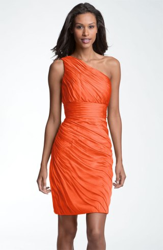 Monique Lhuillier Bridesmaids Ruched One Shoulder Chiffon Sheath Dress, from nordstrom.com