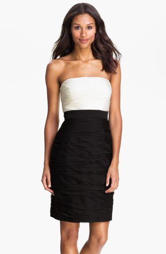Monique Lhuillier Bridesmaids Strapless Two Tone Sheath Dress, from nordstrom.com