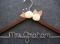 Personalised wedding dress hanger, by LynnClaire on etsy.com