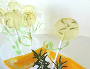 Rosemary citrus lollipops (use for wedding favours), by EventfulSweets on etsy.com