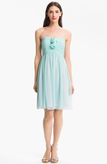 Donna Morgan Strapless Rosette Detail Chiffon Dress, from nordstrom.com