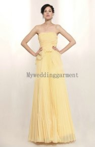 Lemon-yellow chiffon wedding dress, by Myweddinggarment on etsy.com