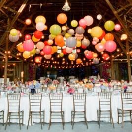 Multi-coloured paper lanterns