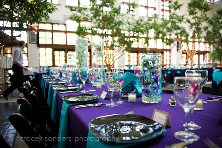 Purple and turquoise reception