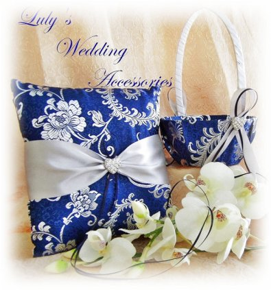 Ring pillow and flower girl basket set, by All4Brides on etsy.com