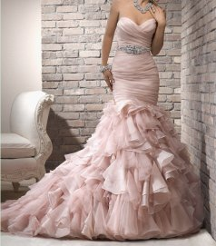 Blush mermaid wedding gown, by NoDoubtOnTrend on etsy.com