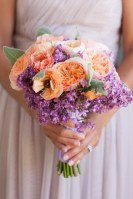 Bouquet of purple and peach flowers