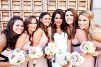 Bridesmaids in blush dresses