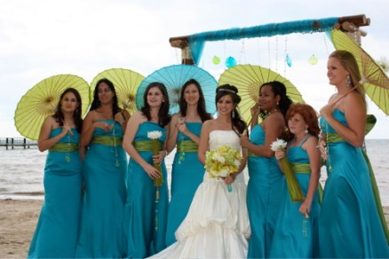 Chartreuse and turquoise wedding