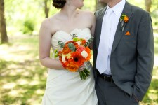 Orange and grey wedding colour scheme