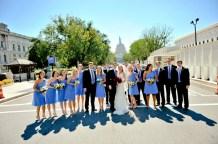 Bridal party in cornflower blue
