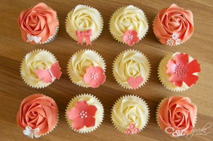 Coral and yellow cupcakes