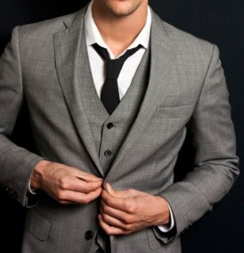 Grey fitted suit and vest