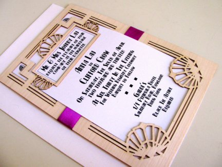 Laser-cut wedding invitation, by MadelineDrive on etsy.com