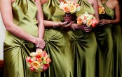 Bridesmaids in olive green