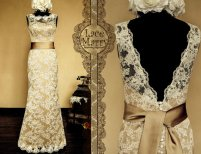 Gold wedding gown, by LaceMarry on etsy.com