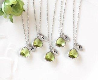 Personalised bridesmaid necklaces, by ElliesWedding on etsy.com