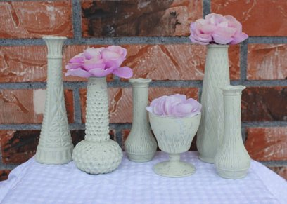 Upcycled milk glass vases, by TheSpeckledEgg2011 on etsy.com
