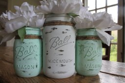 Mason jars for centrepieces, by RusticCottageDesigns on etsy.com