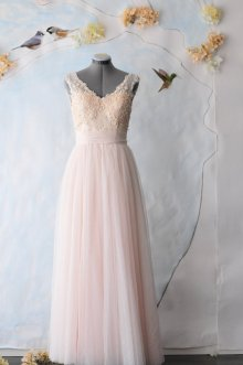 Light peach wedding gown, by TingBridal on etsy.com